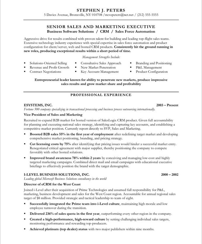 Sample Sales - Executive Resumes L Free Executive Resume Samples L